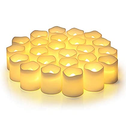 Flameless Votive Candles,Flameless Flickering Electric Fake Candle,Pack of 24,Battery Operated LED Tea Lights in Warm…
