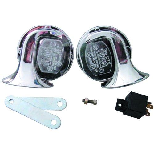 Central Purchasing, LLC. 2 Piece 12 Volt Electric Snail Type Chrome Horn Set 110 dB