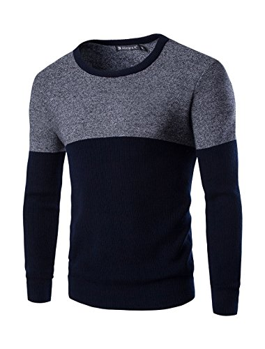 Allegra K Men Crew Neck Long Sleeves Contrast Color Casual Knit Shirt Blue L