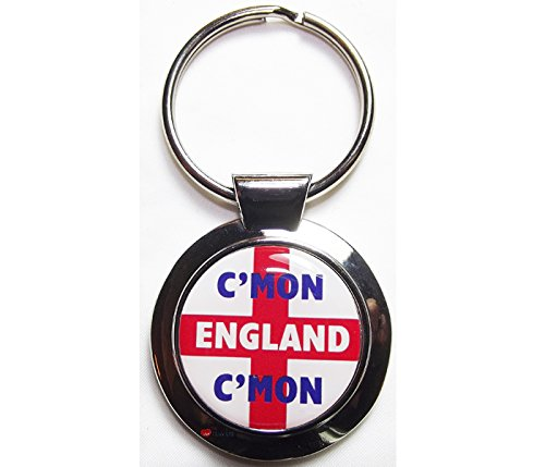 Keyring - Round Metal with C'MON ENGLAND C'MON on St George Cross