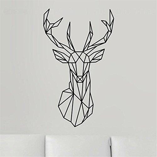New Design Geometric Deer Head Wall Sticker Geometry Animal Series Decals 3D Vinyl Wall Art Home Decor (5BLACK)