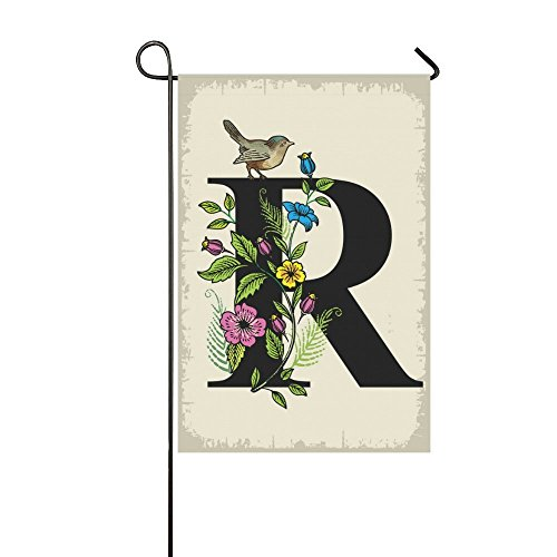InterestPrint Bird on Monogram R with Floral Polyester Garden Flag House Banner 12 x 18 inch, Vintage Flower Letter R Decorative Flag for Party Yard Home Outdoor Decor Bird Monogram