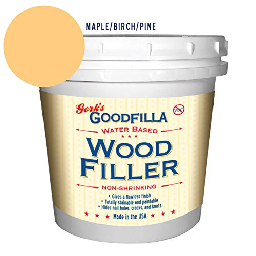 Water-Based Wood & Grain Filler - Maple/Beech/Pine - 1 Quart by Goodfilla | Replace Every Filler & Putty | Repairs, Finishes & Patches | Paintable, Stainable, Sandable & Quick Drying
