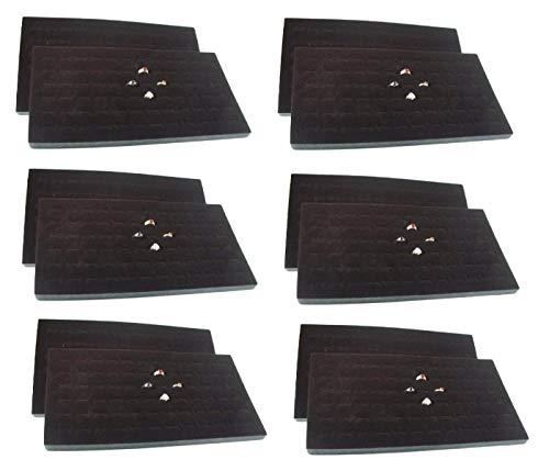 - 888 Display USA 12 Pcs 72 Slot Black Jewelry Travel Ring Inserts Display Pads (Black, 12)
