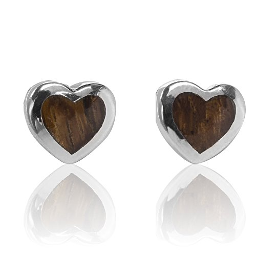 Koa Wood Heart Shaped Stud Earrings in Italian Sterling Silver by BEAN & VANILLA