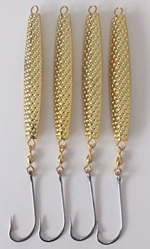 4- A-67 Ava Type Gold Hammered Diamond Jigs 6 oz.with 8/0 Stainless Steel Hooks