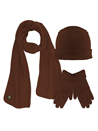 Brown 3 Piece Fleece Hat Scarf & Glove Matching ()