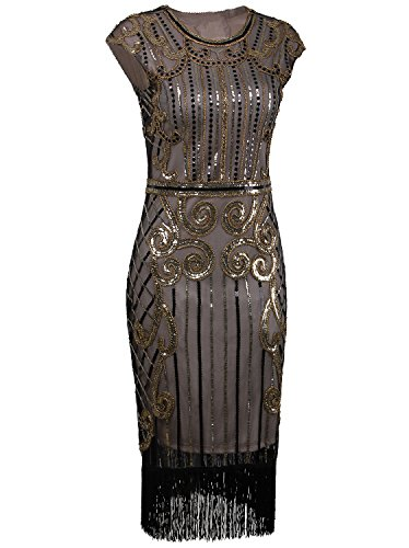 Vijiv 1920s Vintage Inspired Sequin Embellished Fringe Long Gatsby Flapper Dress,Champagne gold,Large