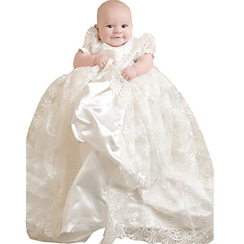Newdeve Round Collar Short Sleeves Lace Tulle Ivory Baby Girl's Christening Dress (3-6 months) by New Deve