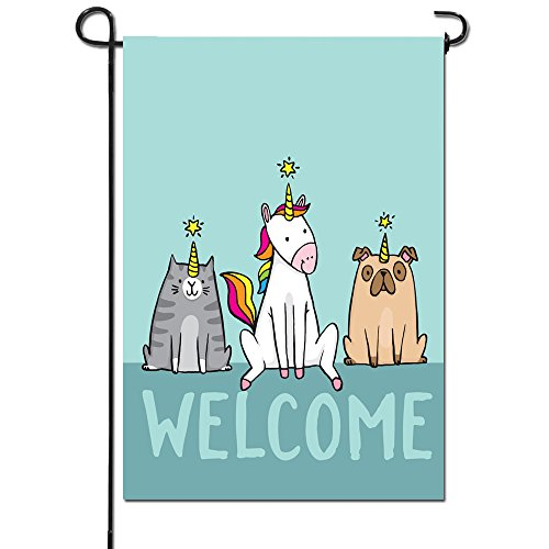 Artsbaba Garden Flags Welcome Unicorn Dog Cat Garden Flag Ou