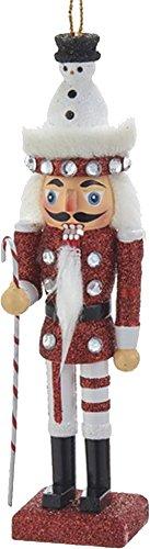 Christmas Nutcracker Ornament w Snowman Hat Black 6H