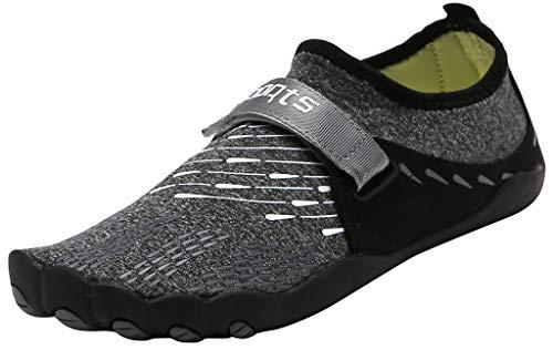 SimpleC Mujer Unisex Transpirable Fitniss Corriendo Toe Zapatos Zapatos de Senderismo Zapatos de Agua Negro(snap)