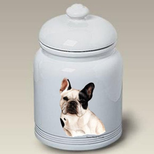 Pied French Bulldog (French Bulldog (Pied): Ceramic Treat Jar 10