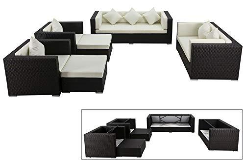 OUTFLEXX Exklusives XL Lounge-Set aus hochwertigem Polyrattan in braun, 3-Sitzersofa, 2-Sitzer, 2 Sessel, 2 Hocker, inkl. weichen Kissenpolster, für 7 Personen, Kissenboxfunktion, zeitlos, wetterfest