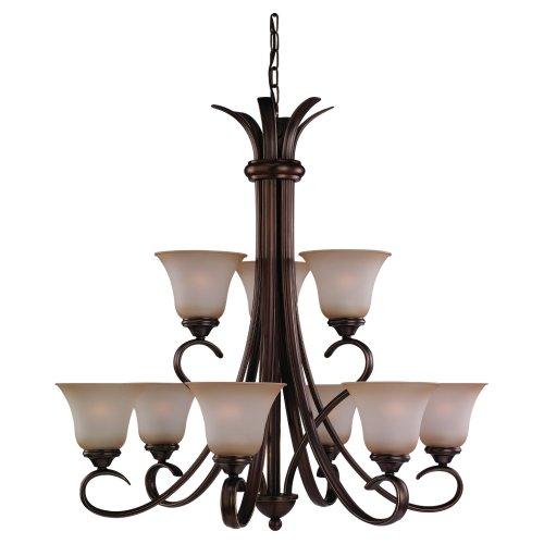 Sea Gull Lighting 31362-829 Nine-Light Rialto Chandelier with Ginger Glass Shades, Russet Bronze ()