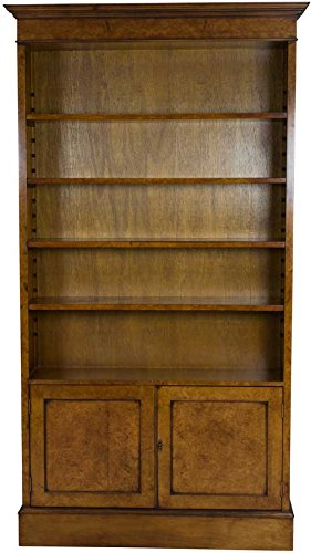 Burl Walnut Bookcase with Doors