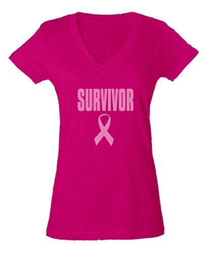 Pink Ribbon Survivor Hope Cure Ladies V-Neck T-shirt Breast Cancer Awareness Shirts Small Pink b2