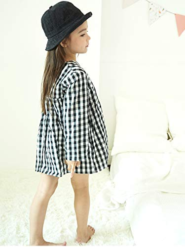 Little Girls High Waist Plaid Dress Black White Long Sleeve Spring Fall Playwear Size 110 (4T) Black Plaid by DeerBird (Image #4)