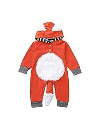 Vinjeely Infant Baby Girls Boys 3D Cartoon Fox Hooded Romper Long Sleeve Outfits