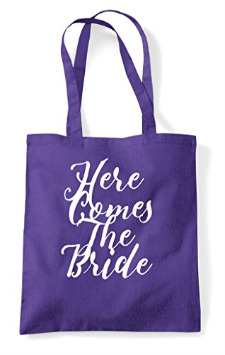 The Tote Customised Purple Personalised Do Comes Shopper Here Bride Party Bag Hen qHwx8fx
