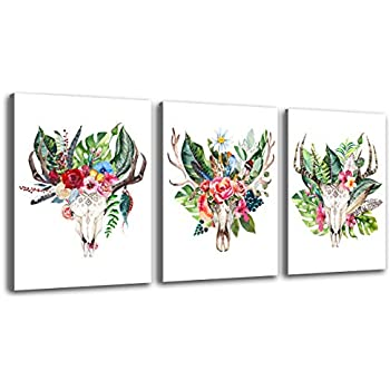 Deer Canvas Prints Wall Decor Art Simple Life Antlers Greenery Flowers Decoration Painting Contemporary Pictures 12