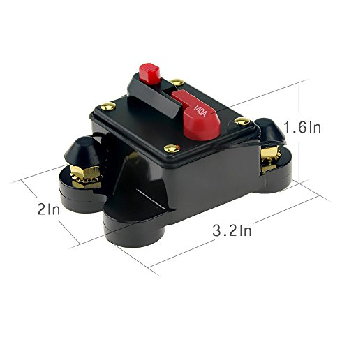 12V-24V DC Circuit Breaker Trolling Motor Auto Car Marine Boat Bike Stereo Audio Inline Fuse Inverter Waterproof with Manual Reset 140A 140Amp by Soyond (Image #2)