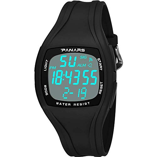 Stopwatch Wrist Watch Mens Digital Sports LED Simple All in The Weather,Luminous Display 24 Hours - Black