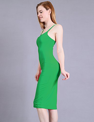 Awesome21 Kelly Green in Spaghetti Body Printed Made USA Con Solid Aawdrv0025 Strap Women's Dress TqxfrRwT