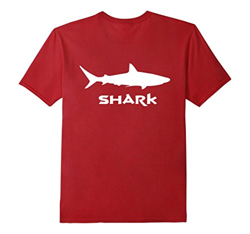 Mens Great White Shark T Shirt Back Print Medium Cranberry