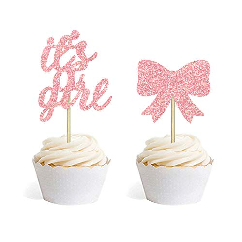 24 PCS Baby Shower Cake Cupcake Toppers Picks for Party Decoration Supplies (It's A Girl Bow)