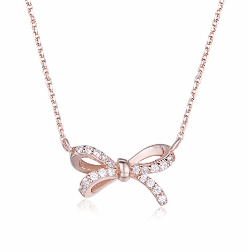 925 Sterling Silver Ribbon Bow Stud Pendant With Cubic Zirconia Jewelry Necklace meaningful Gifts for Women (rose gold plating silver) 925 Silver Studs Pendant