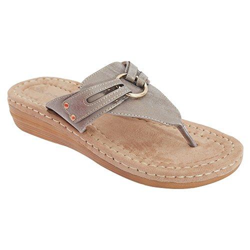 Boulevard- Sandalias de dedo cómodas para mujer Gris metalizado