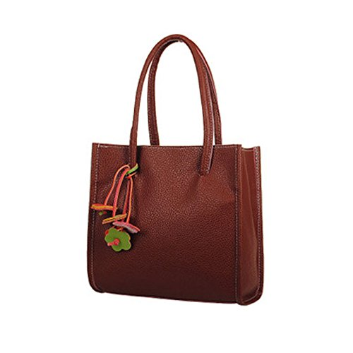 Price comparison product image Fashion Handbags, Han Shi Women Girls PU Leather Flowers Candy Color Totes Shoulder Bag (Brown,  M)