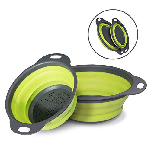Colander Set - 2 Collapsible Colanders (Strainers) Set, Folding Strainer with handle, 2 Quart & 3 Quart Food-Grade Silicone Strainer Perfect for Draining and holding Pasta Vegetable Fruit and beans - 3 Collapsible Quart