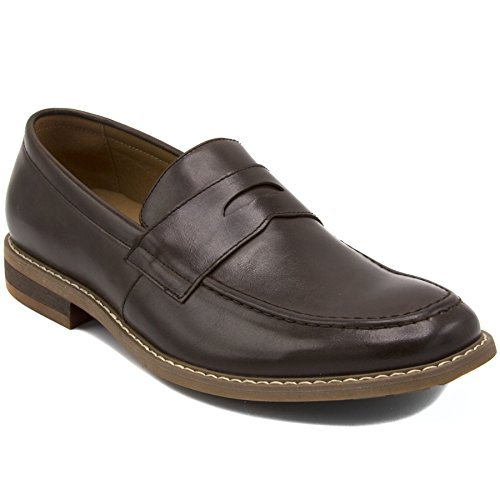 Nautica Men's Dress Shoes, Lace Up Oxford, Slip On Moc Toe Loafer-Elias-Choclate Smooth-10 ()