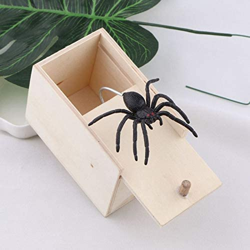 2 packs Lake Spider prank box April Fools Day fun funny scary small wooden box surprise practical joke party gift prank scare box wooden tricky panic box