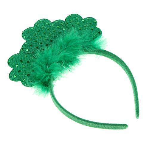 SM SunniMix Sequin Shamrock Fluffy Headband Hair Hoop St Patricks Day Fancy -