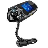 Adaptador inalámbrico de manos libres inalámbrico para automóvil con transmisor FM, transmisor de FM para automóvil Nulaxy, con pantalla de 1,44 pulgadas - KM18 negro