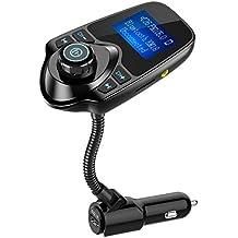 [versión más reciente LED transmisor FM], Nulaxy transmisor de radio FM inalámbrico por Bluetooth para el coche, Negro