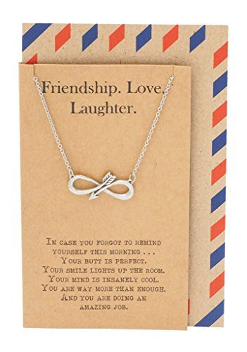 Quan Jewelry Infinity Arrow Friendship Love Laughter Necklace for Women, Gift for Sisters Best Friends, BFFs with Inspirational Quote on Greeting Card