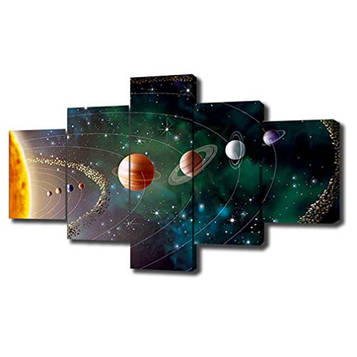 SwmArt 5 Piece Solar system, planets, Earth Sciences by satellite Cosmos silk Canvas posters, children bedroom decoration posters science(40