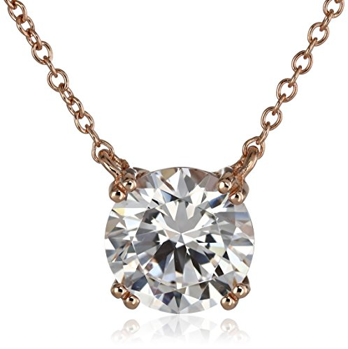 Rose-Gold-Plated Sterling Silver Swarovski Zirconia Round Solitaire Pendant Necklace ()