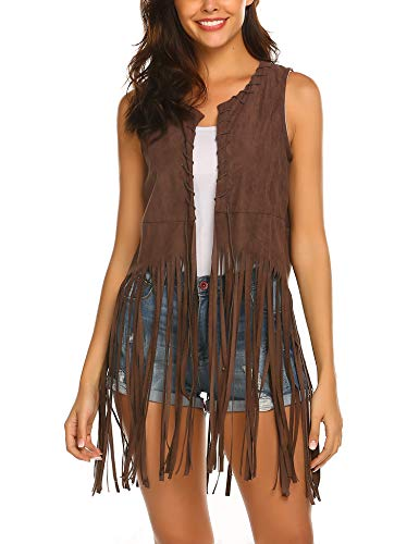 Hotouch Women Fringe Vest Faux Suede Tassels 70s Hippie Clothes Open-Front Sleeveless Vest Cardigan Female