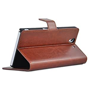 Vintage Wallet PU Leather Case For Sony Xperia Z L36H with Stand and Card Holder Phone Bag Luxury Flip Cover --- Color:Brown