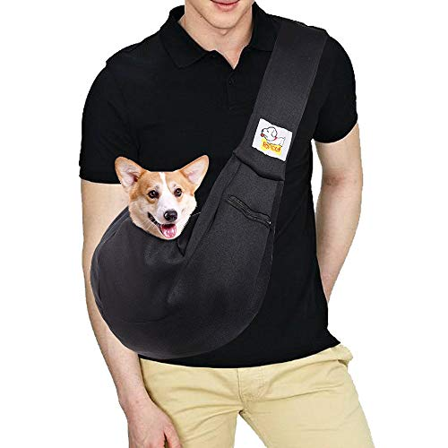 - HOPELF Pet Dogs Cats Small Animals Sling Carrier with Pocket Hands Free Reversible Puppy Outdoor Travel Bag Purse (Black Adjustable)