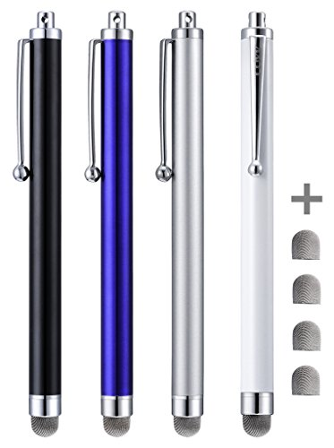 Stylus, CCIVV 4 Pcs 5.0 Inches Hybrid Mesh Fiber Tip Stylus Pens for Touch Screen Devices, iPad, iPhone, Kindle Fire + 4 Extra Replaceable Hybrid Fiber Tips (White, Black, Silver, Blue)