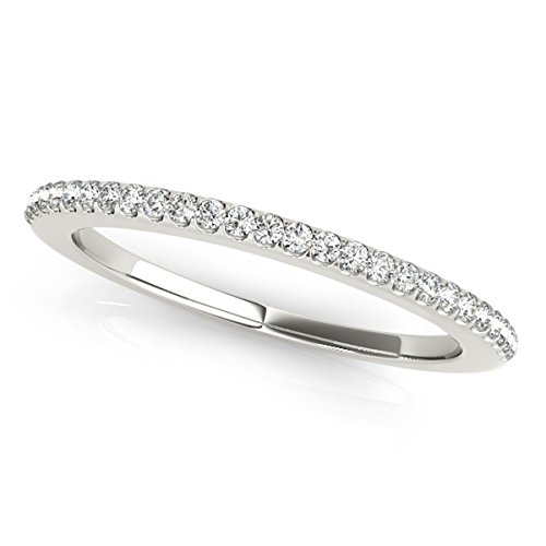MauliJewels 0.14 Carat Diamond Wedding Band in 14K Solid White Gold Ring Size - 7