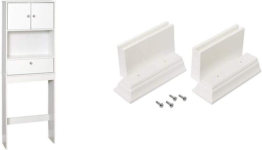 Zenna Home Drop Door Over The Toilet Bathroom Spacesaver, Bath Storage Shelves, White & Kit Leg Extension, White