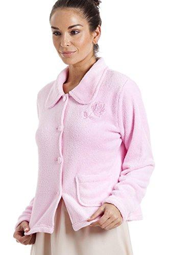 38 par Chaude et Douce 52 Rose Fermeture de Pyjama Rose Veste Boutons en Polaire Femme wqxFHC7zn