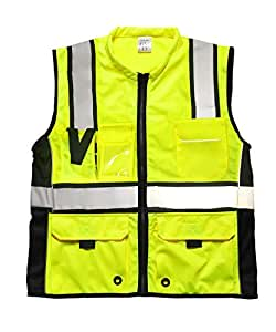 Phrmovs 6 Pockets Class 2 High Visibility Safety Vest With Reflective Strips, Zipper Front,HQ Breathable Mesh Workwear
